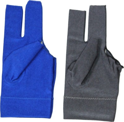 Billiedge Combo of Blue And Grey Nail Cut Billiard Gloves (Free Size, Multicolor)