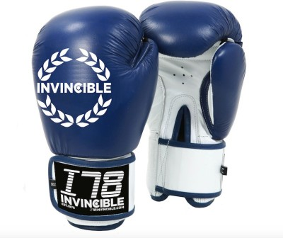Invincible Leather Competition Boxing Gloves (Men, Blue)