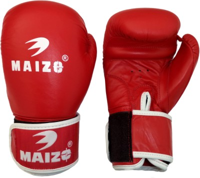 Maizo Competition Style Leather Moulded Boxing Gloves (M, Red, White)