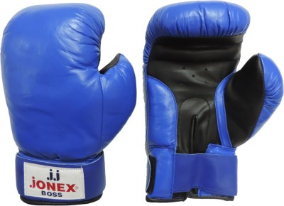 JJ JONEX SUPERIOR QUALITY training Boss with velcro Boxing Gloves (S, Blue)
