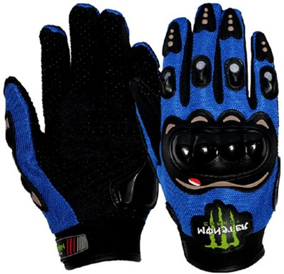 Monster 2 Pcs. Knuckle Motorcycle/Bike (Blue M) Riding Gloves (M, Multicolor)