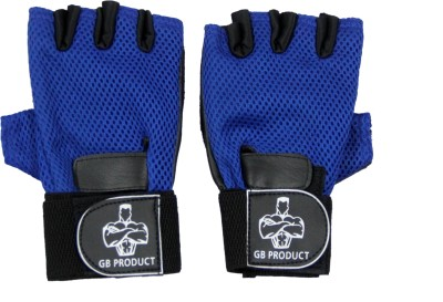 GB BLUE TOP GRADE Gym & Fitness Gloves (Free Size, Blue)