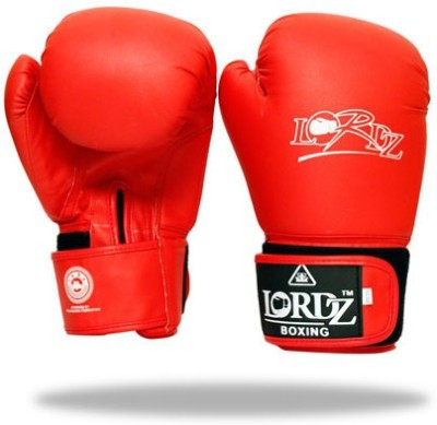 Lordz Synthetic Leather Contender Training Boxing Gloves (M, Red)