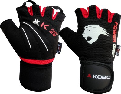 KOBO Weight Lifting Fitness Gym With Wrist Support Gym & Fitness Gloves (L, Black, Red)
