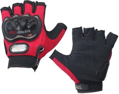 Pro Biker Half Cut for Bike Riding Gloves (L, Red)