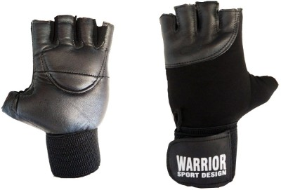 Real Choice Leather Warrior Gym & Fitness Gloves (Free Size, Black)