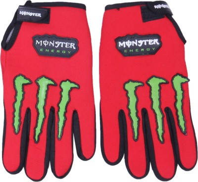 Monster Monster Riding Gloves (Free Size, Red)