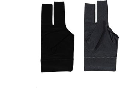 Billiedge Combo of Black And Grey Nail Cut Billiard Gloves (Free Size, Multicolor)