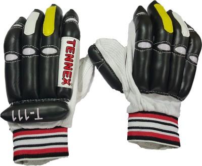 Tennex T-111 Black Batting Gloves (Free Size, Black, White, Red)