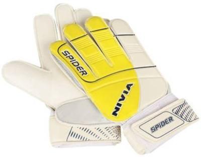Nivia Spider Football Gloves (M, Yellow, White)