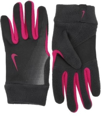 Nike TECH THERMAL Running Gloves (L, Grey, Red)