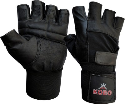 Kobo Leather Weight Lifting Gym & Fitness Gloves (S, Black)