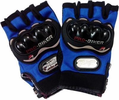 Pro Biker Half Cut Driving Gloves (XL, Blue, Black)