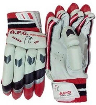 APG Pawan Top Batting Gloves (Men, White, Red)