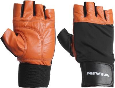 Nivia Leather 890OR Gym & Fitness Gloves (L, Orange, Black)