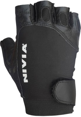 Nivia Viper 708 Large Genuine Leather Gym & Fitness Gloves (L, Black)