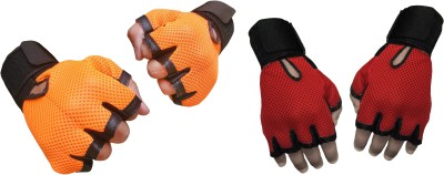 Jack & Ginni Gyming Gym & Fitness Gloves (Free Size, Orange, Red)