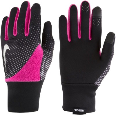 Nike WOMEN,S PRINTED ELEMENT THERMAL 2.0 RUN Gym & Fitness Gloves (L, Black, Pink)