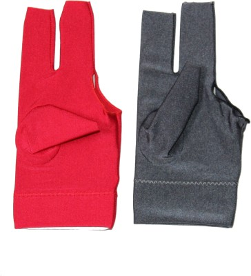 Billiedge Combo of Red And Grey Nail Cut Billiard Gloves (Free Size, Multicolor)