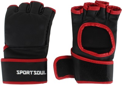 SportSoul MMA Open Palm Gym & Fitness Gloves (L, Black, Red)