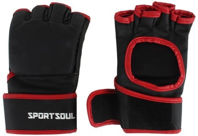 SportSoul MMA Open Palm Gym & Fitness Gloves (M, Black, Red)
