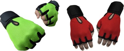 Jack & Ginni Fitness Gloves Gym & Fitness Gloves (Free Size, Green, Red)