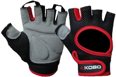Kobo Weight Lifting Gym & Fitness Gloves (L, Black, Red)