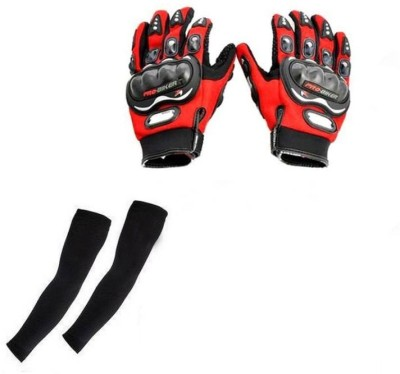 Pro Biker Bike Riding And Arm Sleeves Driving Gloves (XL, Red, Black)