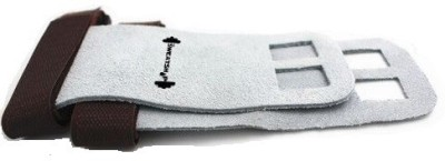 The SweatShop Gymnastic Hand Grips - Soft Textured Leather,velcro closure Gym & Fitness Gloves (S, Grey)