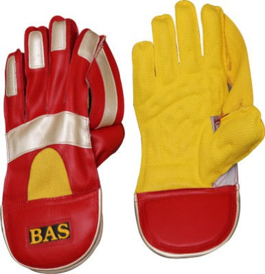 BAS Vampire Gold Wicket Keeping Gloves (L, Red, Yellow)