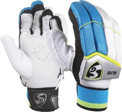 SG Elite Batting Gloves (Men, White, Blue)