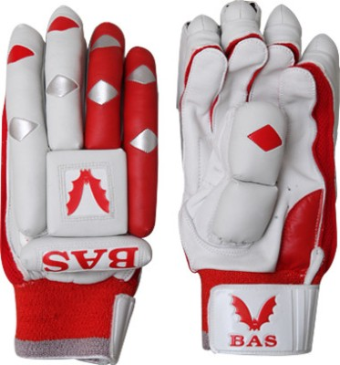 BAS Vampire Pro Batting Gloves (L, White, Red)