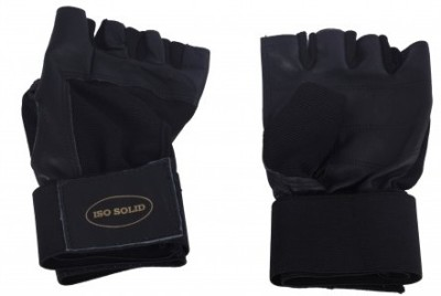 Iso Solid Pure Leather Professional Gym & Fitness Gloves (S, Black)