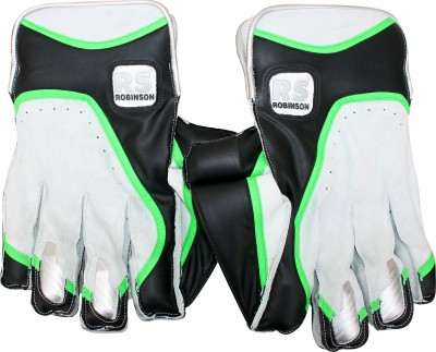RS Robinson Limited Edition Wicket Keeping Gloves (Men, White, Green)
