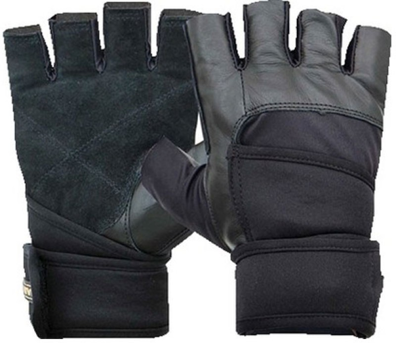 Nivia Pro Wrap(GG-921) Gym & Fitness Gloves (Free Size, Black)