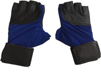 CP Bigbasket Sheep Leather Blue & Black Gym & Fitness Gloves (Free Size, Blue, Black)