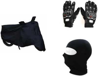 Pro Biker Bike Riding Facemask And Bike Body Cover Driving Gloves (XL, Black)