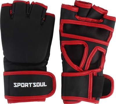 SportSoul MMA Leather Boxing Gloves (S, Black, Red)