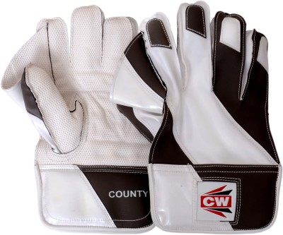 CW County Wicket Keeping Gloves (Men, White, Black)