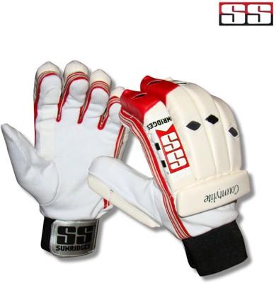 SS County Lite Rh Batting Gloves (M, White, Red)