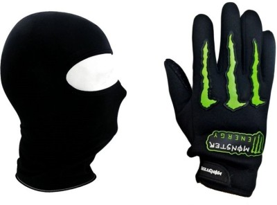 Monster Bike Gloves Driving Gloves (XL, Black, Green)