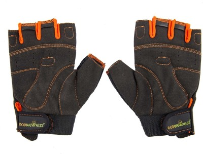 Ecowellness Aerobic QW-92 M Gym & Fitness Gloves (M, Black, Orange)