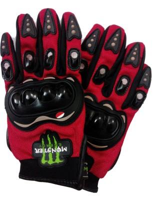 Monster Full Finger Driving Gloves (XL, Red, Black)