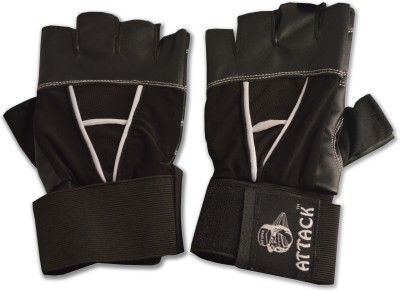 Shopo Attack Sporting Goods Finger Cut Design Leather Gym & Fitness Gloves (Free Size, Black)