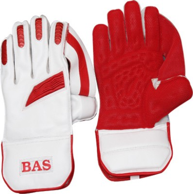 BAS Vampire Legend Wicket Keeping Gloves (L, White, Red)