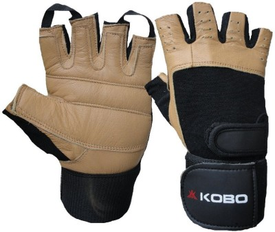 Kobo Training with Wrist Support Gym & Fitness Gloves (M, Black, Brown)