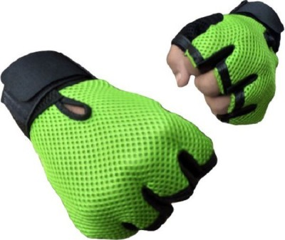 Real Choice Leather Padding Gym & Fitness Gloves (Free Size, Green)