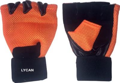 Lycan Fire Gym & Fitness Gloves (L, Orange)