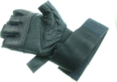 He Retail Genuine Leather Gym & Fitness Gloves (Free Size, Black)