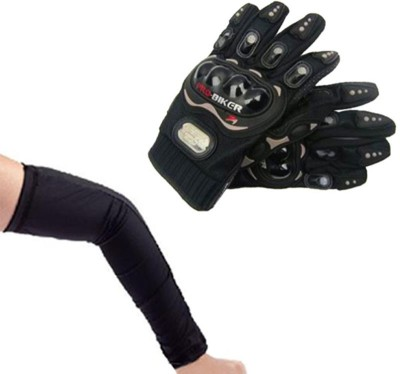 Pro Biker Bike Riding And Arm Sleeves Driving Gloves (XL, Black)